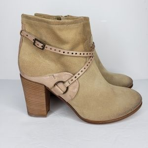 ALBERTO FERMANI Suede Leather Side Zip Ankle Boots
